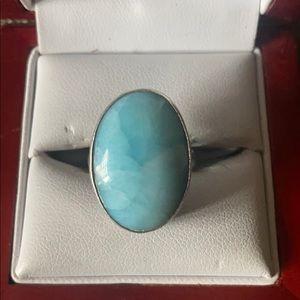 Sterling Silver Larimar stone ring